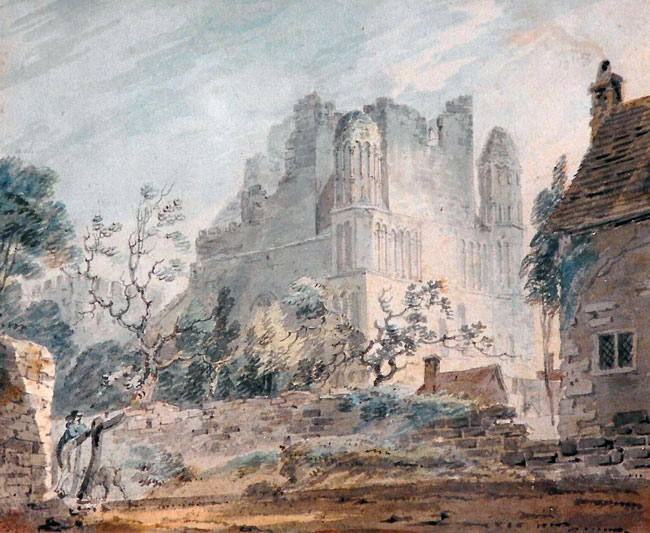 JOSEPH MALLORD WILLIAM TURNER  East Malling Abbey, Kent   Watercolor on paper 8½ x 10 inches (21.5 x 25.3 cm)  SOLD