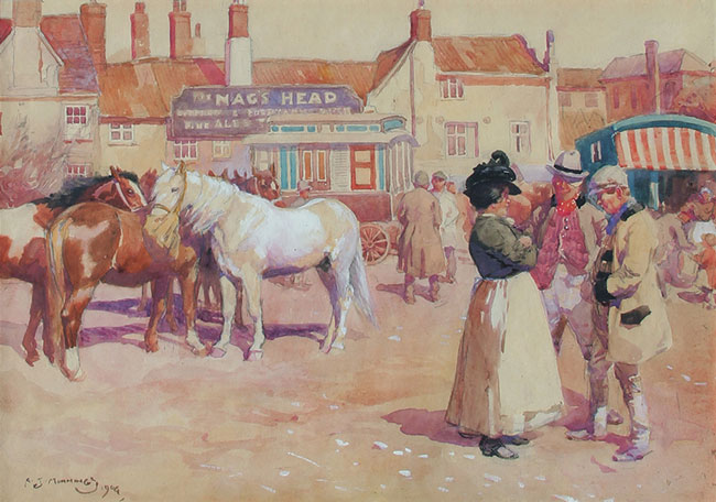 SIR ALFRED MUNNINGS After the Fair, Norwich (1904) Watercolor heightened with white on paper 11 x 14 inches (28 x 36 cm) SOLD