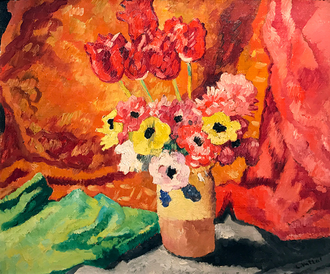 LOUIS VALTAT  Vase de Fleurs   Oil on canvas 21¼ x 24¾ inches (54 x 65 cm)  SOLD