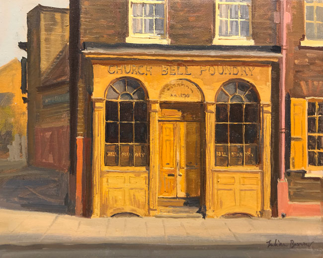 JULIAN BARROW    Church Bell Foundry, Whitechapel, London   Oil on canvas 8 x 10 inches (20.2 x 25.4 cm)  SOLD