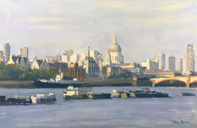 JULIAN BARROW    St. Paul's from Bankside, London   Oil on canvas 8 x 12 inches (20.2 x 30.5 cm)  SOLD