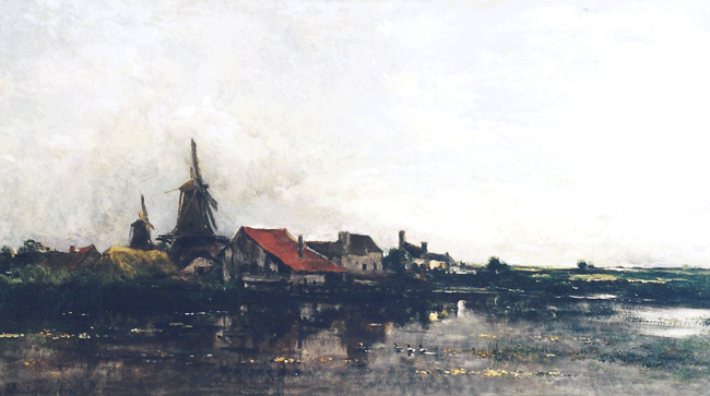 CHARLES FRANÇOIS DAUBIGNY    The River Meuse at Dordrecht    (1872)  Oil on canvas 18¼ x 32¼ inches (46.4 x 81.9 cm.)  SOLD