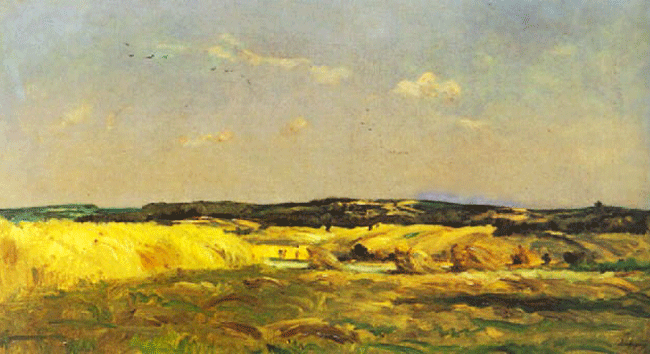 CHARLES FRANÇOIS DAUBIGNY    The Harvest   Oil on canvas 17 x 32 inches (44.6 x 81.5 cm)  SOLD