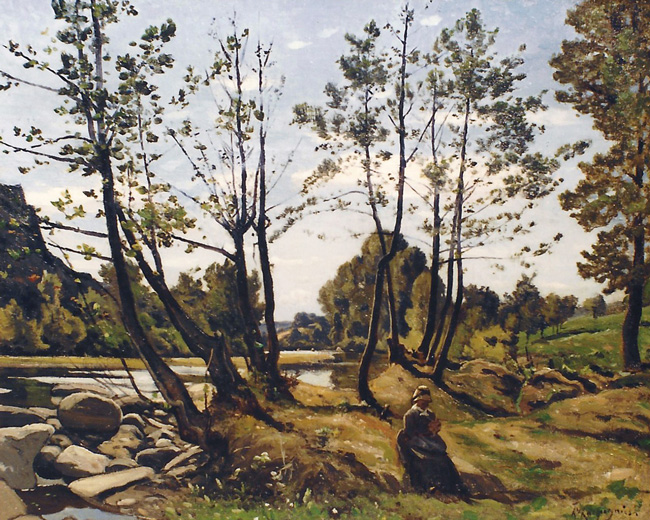 HENRI JOSEPH HARPIGNIES    On the Banks of the Aumance   Oil on canvas 15 x 18½ inches (38 x 47 cm)  SOLD