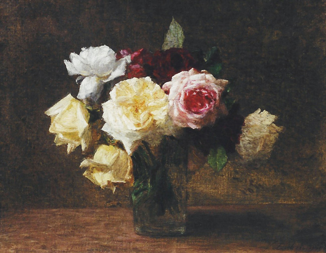VICTORIA DUBOURG FANTIN-LATOUR    A Bouquet of Roses  (1907)  Oil on canvas 11 x 13¾ inches (28 x 35 cm)  SOLD
