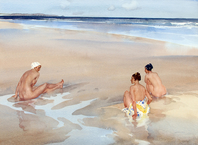 SIR WILLIAM RUSSELL FLINT    Evelina, Mirabel and Alice on Bamburgh Sands (Northumberland)   Watercolor on paper 20½ x 27½ inches (52.1 x 70 cm)  SOLD