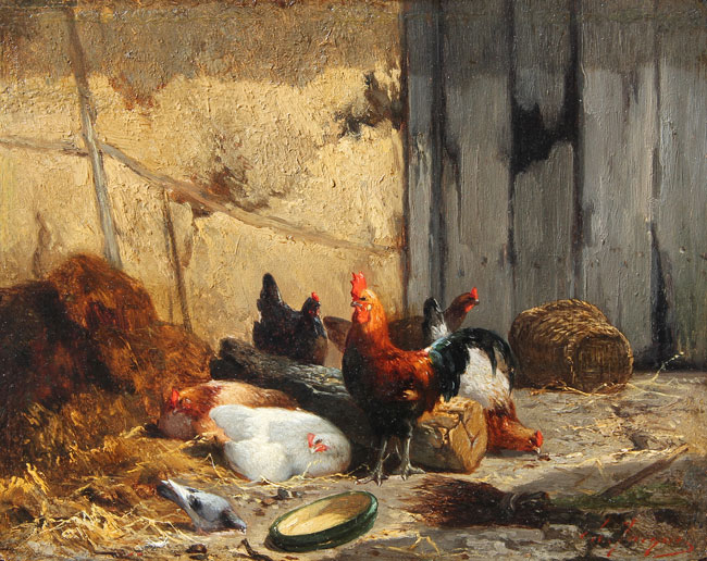 CHARLES EMILE JACQUE    Barn Interior with Fowl   Oil on panel 6½ x 8¼inches (16.5 x 21 cm)  SOLD