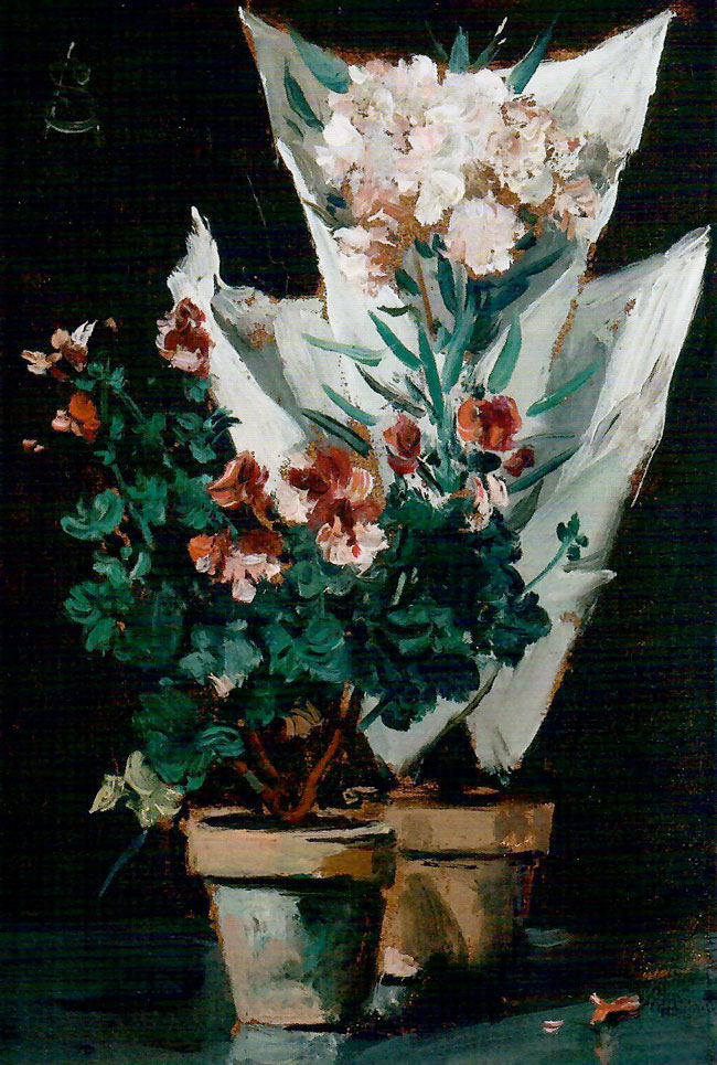 ALFRED STEVENS    Still Life with Potted Geraniums    Oil on panel 5¾ x 4 inches (14.6 x 10 cm)  SOLD