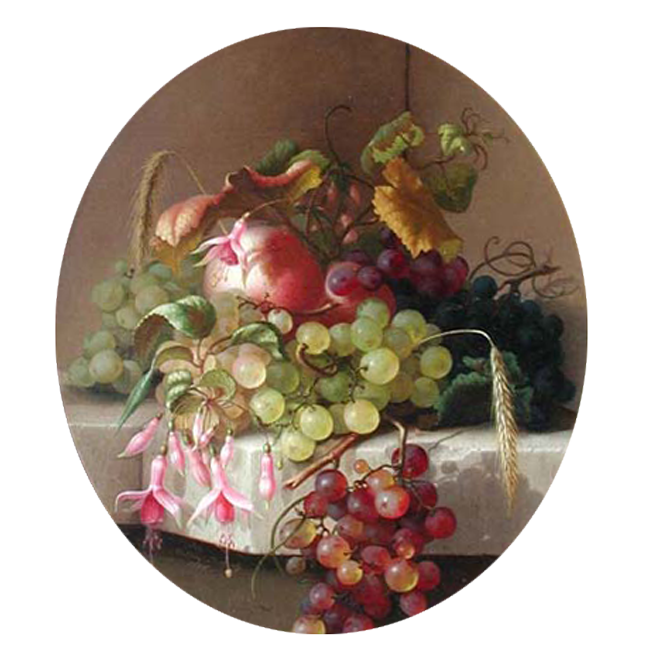 ADELHEID DIETRICH  Still Life with Fruit and Flowers   Oil on canvas 14¼ x 12¾ inches (36.5 x 33.2 cm) $32,000 Click here for more information