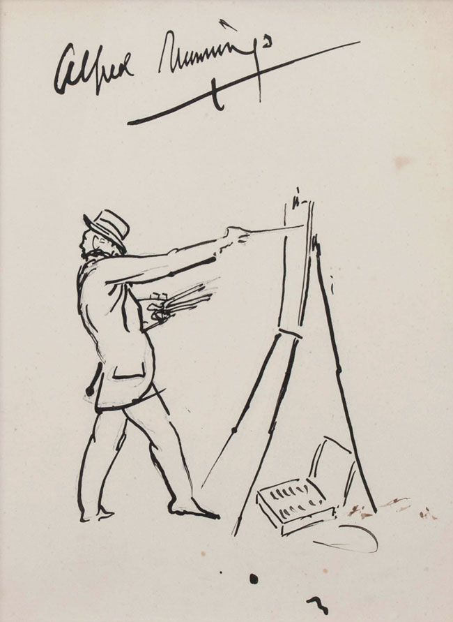 SIR ALFRED MUNNINGS  Self-Portrait of the Artist at an Easel   Pen and ink on paper 11½ x 9 inches (29.2 x 22.8 cm) Sight size: 9 x 7 inches (22.8 x 17.8 cm) $8,500 Click here for more information