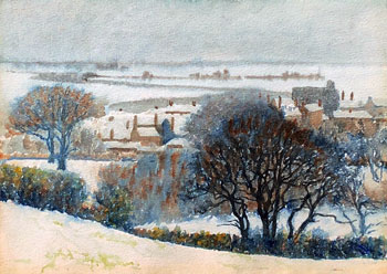THOMAS BUFORD METEYARD    Rye, Sussex, Snow   Watercolor on paper 11 x 15 inches (28 x 38 cm) $6,500 Click here for more information