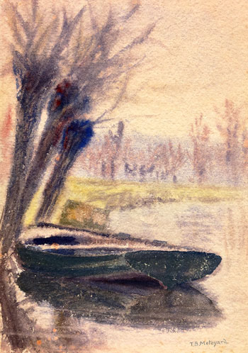 THOMAS BUFORD METEYARD    The Boat, Giverny   Watercolor on paper 7 x 5 inches (17.7 x 12.6 cm) $4,500 Click here for more information