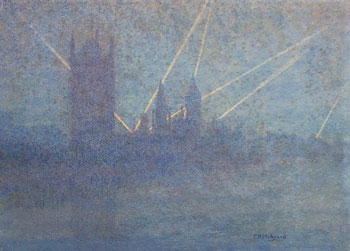 THOMAS BUFORD METEYARD    Searchlights, Houses of Parliament, London  (1915)  Watercolor on paper 7½ x10 inches (19 x 25.4 cm) $5,500 Click here for more information