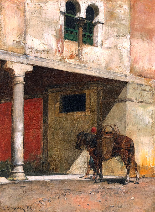 ALBERTO PASINI    L'Attente - Souvenir d'Orient   Oil on canvas laid down on board 8½  x 6¼ inches (21.6 x 15.8 cm) $21,000 Click here for more information