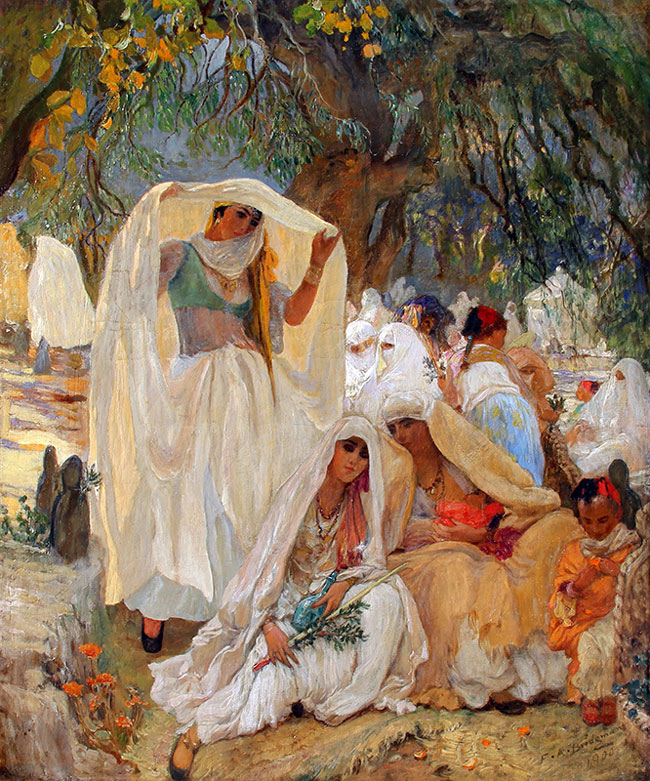 FREDERICK ARTHUR BRIDGMAN    Le jour du Prophète à Blidah, en Algérie   Oil on canvas 26 x 21½ inches (66 x 54.5 cm)  SOLD