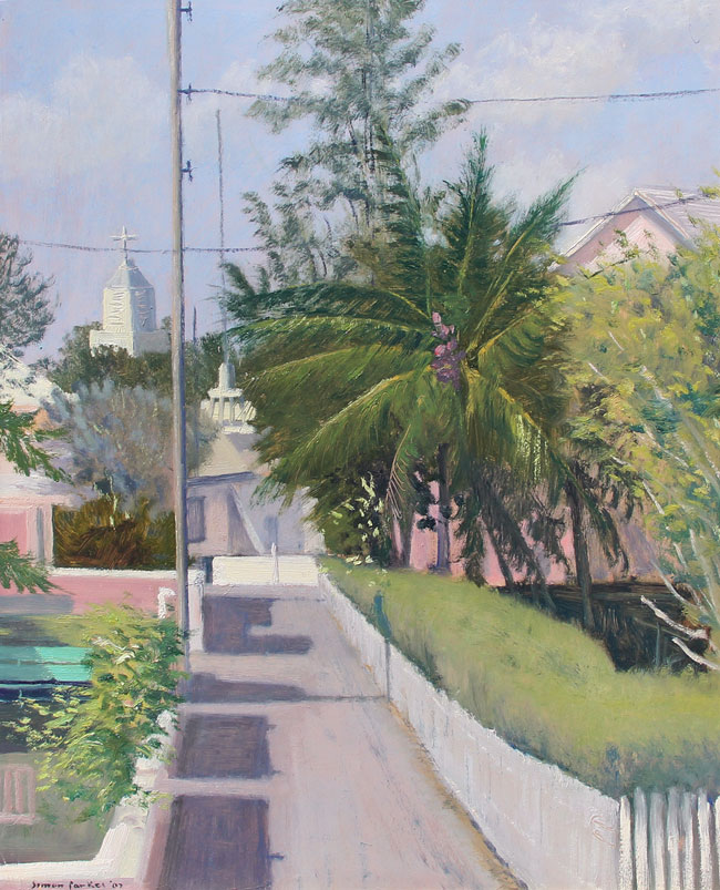 SIMON PARKES  By the Police Station, Harbour Island, Bahamas   Oil on panel 16 x 13 inches (40.6 x 33 cm) $6,500 Click here for more information