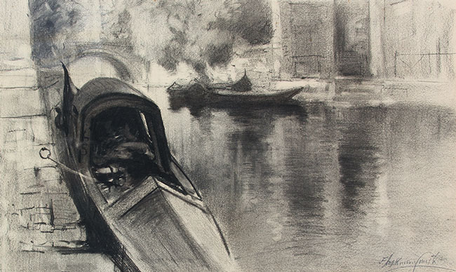 FRANCIS HOPKINSON SMITH    Gondolas in Venice   Charcoal on paper 14 x 23 inches (35.5 x 58.5 cm) $6,000 Click here for more information
