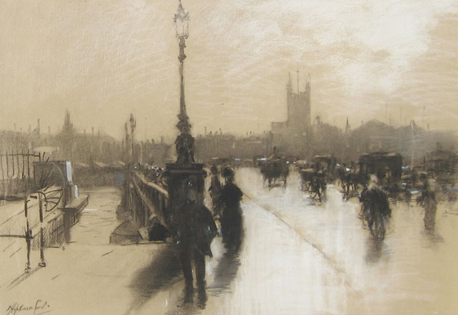 "FRANCIS HOPKINSON SMITH    London Bridge, illustration for ""In Dickens's London""  (1914)  Black and white chalk on paper 17 x 25 inches (43 x 63.5 cm)  SOLD"