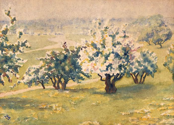 THOMAS BUFORD METEYARD    Orchard near Rye, Sussex   Watercolor on paper 11 x 15 inches (28 x 38 cm) $6,500 Click here for more information