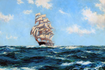 """MONTAGUE DAWSON (1895–1973)  A Westerly Trade Wind – The Boston Clipper """"Southern Cross"""""""