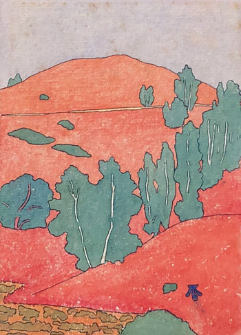 THOMAS BUFORD METEYARD    Scituate, Red and Green (The Dunes)   Watercolor on paper 7 x 5 inches (17.8 x 12.7 cm) $4,500 Click here for more information