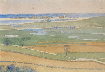 THOMAS BUFORD METEYARD    Marsh, Scituate   Watercolor on paper 5 x 7 inches (12.7 x 17.8 cm) $4,500 Click here for more information