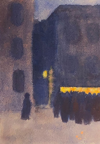 THOMAS BUFORD METEYARD    Spain, Figures at Night   Watercolor on paper 10 x 7 inches (25.3 x 17.8 cm) $4,500 Click here for more information