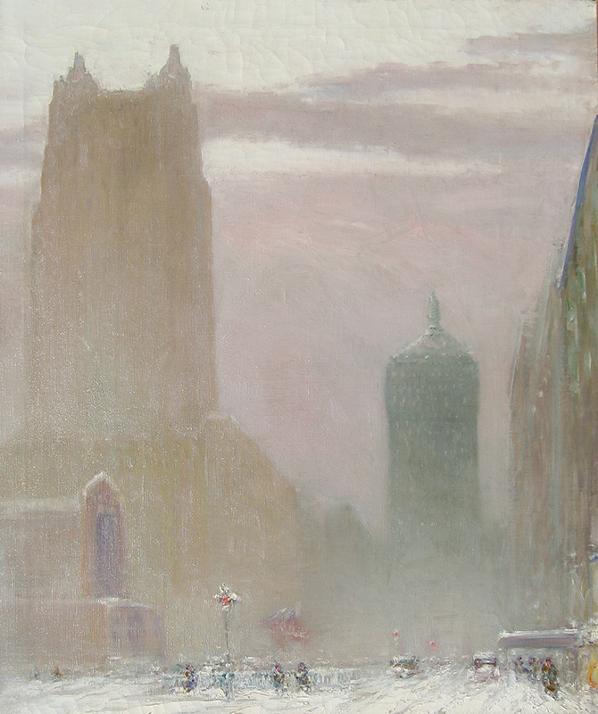 JOHANN BERTHELSEN    Park Avenue at the Waldorf Astoria  (1927)  Oil on canvas 30 x 25 inches (76.2 x 63.5 cm.)  SOLD