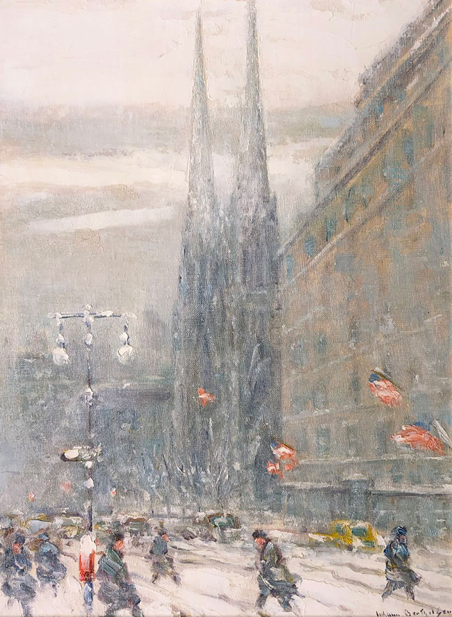 JOHANN BERTHELSEN  St. Patrick's Cathedral, New York   Oil on board 16 x 12 inches (40.6 x 30.5 cm) $8,500 Click here for more information