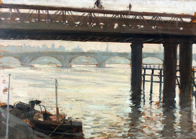 CLOVIS FRANÇOIS AUGUSTE DIDIER  Along the Thames   Oil on panel 9½ x 13¾ inches (24 x 35 cm) $9,500 Click here for more information