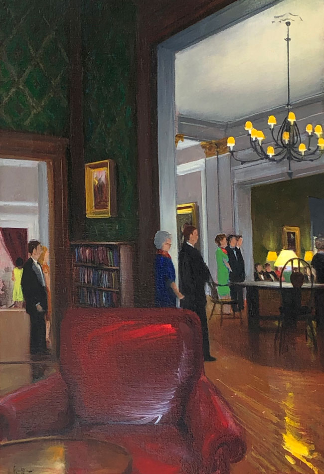 JOSEPH KEIFFER  Evening at the Century Association, New York   Oil on canvas 20 x 14 inches (51 x 35.5 cm) $3,200 Click here for more information