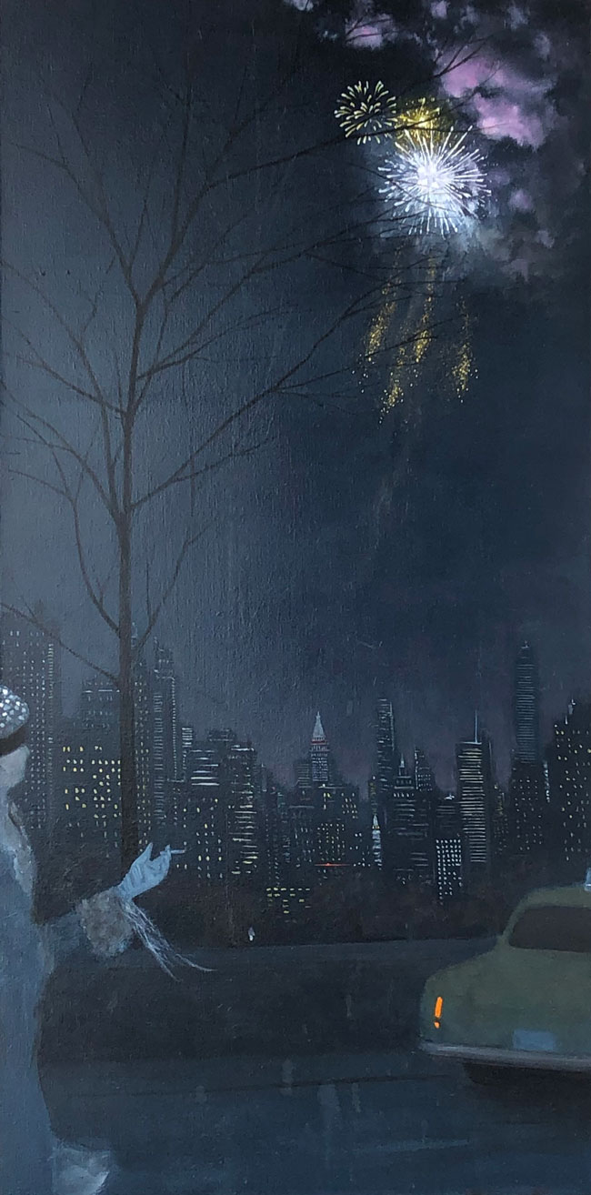 JOSEPH KEIFFER  New Year's Eve, Central Park West   Oil on canvas 48 x 24 inches $6,800 Click here for more information