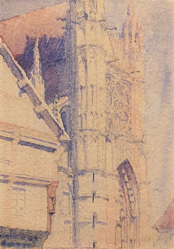 THOMAS BUFORD METEYARD    Vernon Church  (c. 1891-93)  Watercolor on paper 7 x 5 inches (18 x 12.7 cm)  SOLD