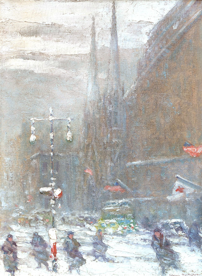 JOHANN BERTHELSEN    Fifth Avenue in Snow   Oil on board 16 x 12 inches (40.6 x 30.5 cm) $8,500 Click here for more information