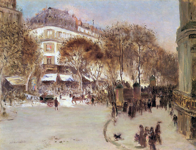 JEAN-FRANÇOIS RAFFAËLLI    Les Boulevards des Italiens, Paris   Oil on board 10½ x 13¾ inches (27 x 34.9 cm)  SOLD