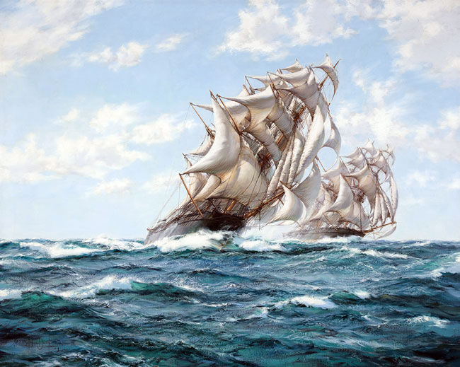 MONTAGUE DAWSON  The Great Race - Ariel and Taeping   Oil on canvas 40 x 50 inches (101.5 x 127 cm)  SOLD