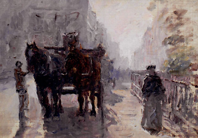 ANNA RICHARDS BREWSTER  A Summer Morning in London   Oil on canvas 5½ x 8 inches (14 x 20.3 cm)  SOLD