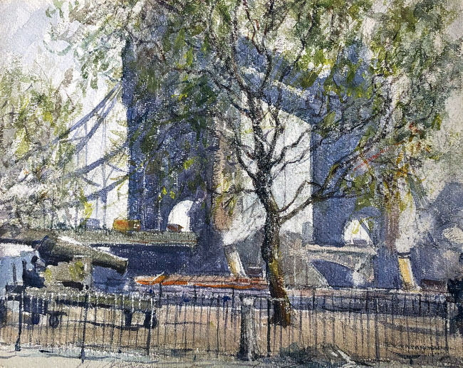 AIDEN LASSELL RIPLEY  Tower Bridge, London   Watercolor on board 11 x 14¼ inches (28 x 36 cm) $4,500 Click here for more information