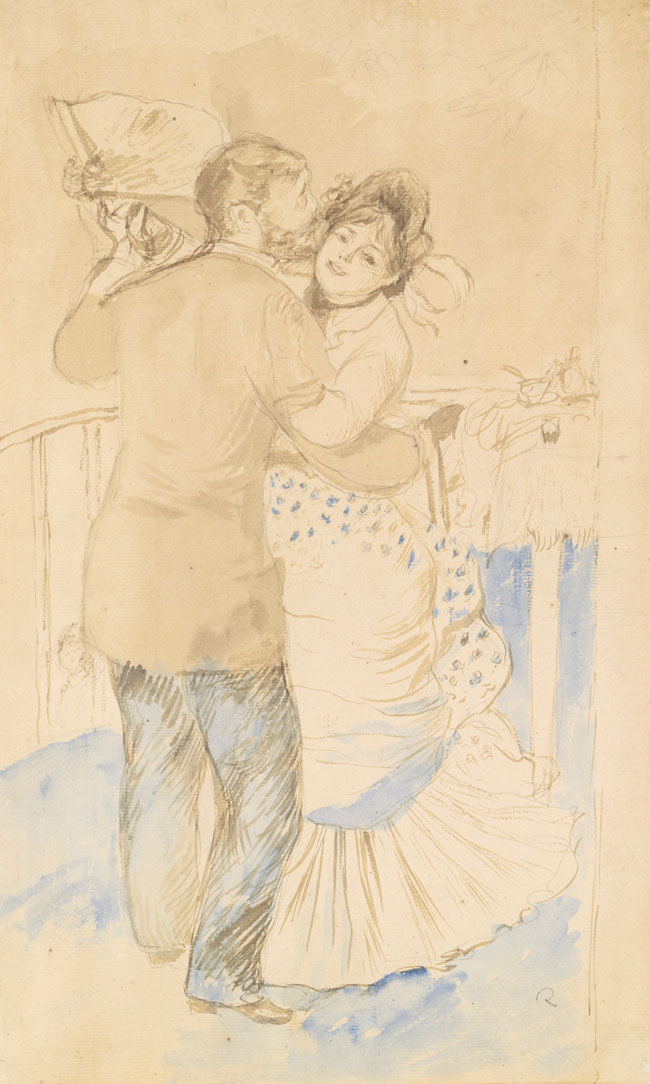 "PIERRE-AUGUSTE RENOIR      Study for ""La Danse à la Campagne""  (1883)  Watercolor, ink wash and pencil on paper 17½ x 11 inches (44.5 x 28 cm)  SOLD"