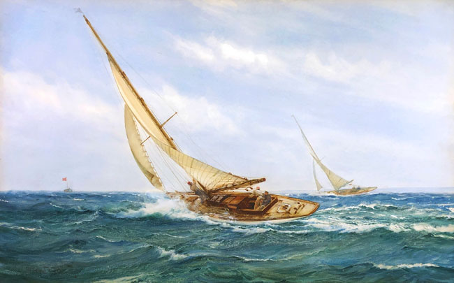 MONTAGUE DAWSON    A Close Race   Watercolor on paper 17 x 26¾ inches (43.2 x 68 cm) $28,000 Click here for more information