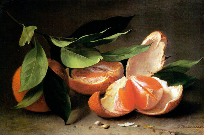 CARL BALSGAARD   Still Life with Tangerine  Oil on canvas 8½ x 12¾ inches (21.5 x 32.4 cm)  SOLD