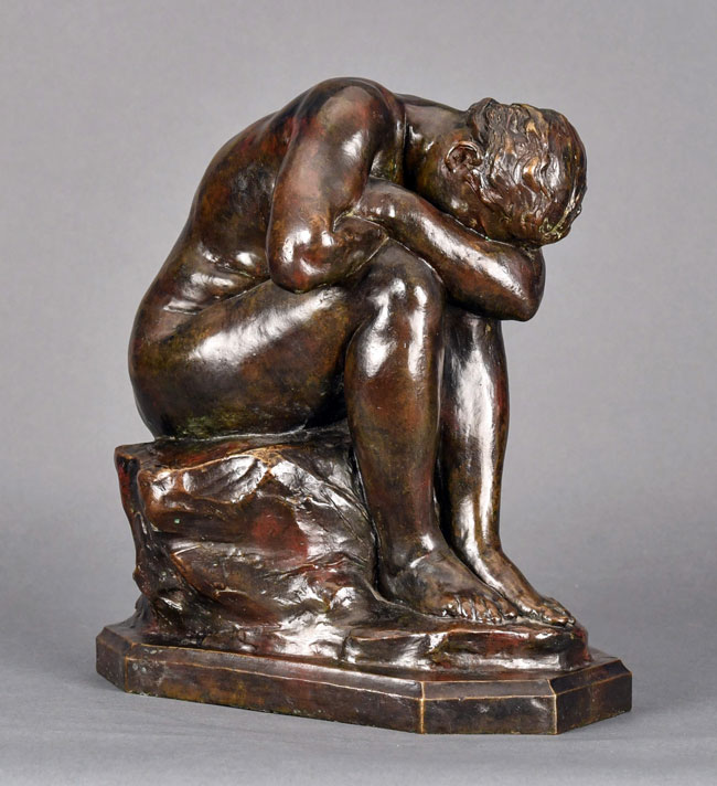 AIMÉ JULES DALOU    La Vérité Méconnue (Truth Revealed)     Bronze, dark brown patina Height: 13¼ inches (35 cm) $24,000 Click here for more information