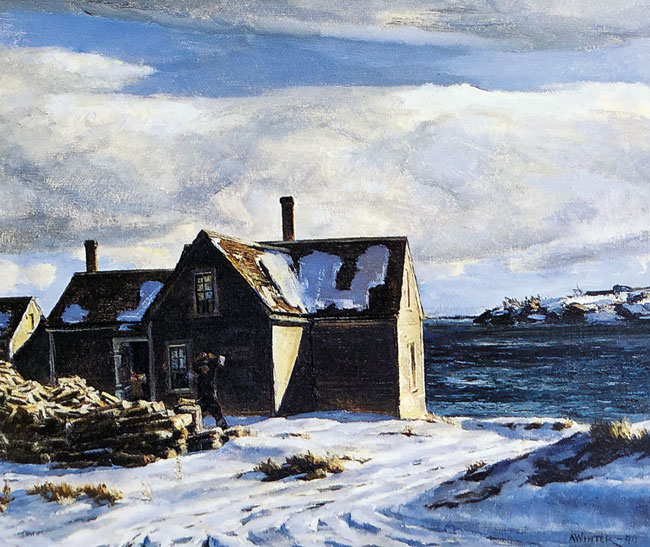 ANDREW WINTER      Ten Above Zero - Landscape in Maine (1940)  Oil on canvas 25 x 30 inches (63.5 x 76.2 cm)  SOLD