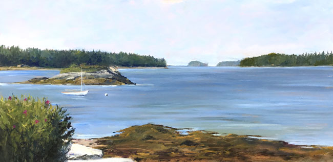 EMILY BUCHANAN  Moored Sailboat, Dark Harbor, Maine   Oil on panel 12 x 24 inches (30.5 x 61 cm) $5,000 Click here for more information
