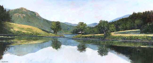 EMILY BUCHANAN    Little Long Pond, Maine     Oil on panel 18 x 42 inches (45.7 x 106.5 cm) $10,000 Click here for more information