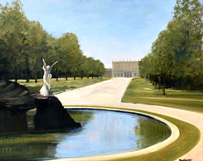 EMILY BUCHANAN  Fountain at Cliveden House   Oil on panel 16 x 20 inches (40.6 x 50.8 cm) $7,000 Click here for more information