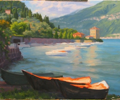 Pescallo painting Italian landscape