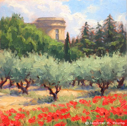 """Springtime at the Chateau de Lourmarin"" Oil on panel, 6x6"" ©Jennifer E Young"