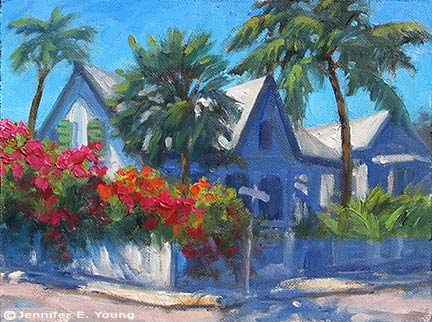 """The Shady Side"" Oil on canvas, 6x8"" ©Jennifer E. Young"