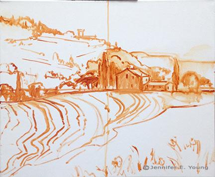 Tuscany hillside landscape painting in progress by Jennifer E. Young